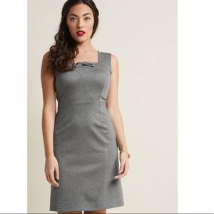 ModCloth Gray Bow Retro Sheath Dress